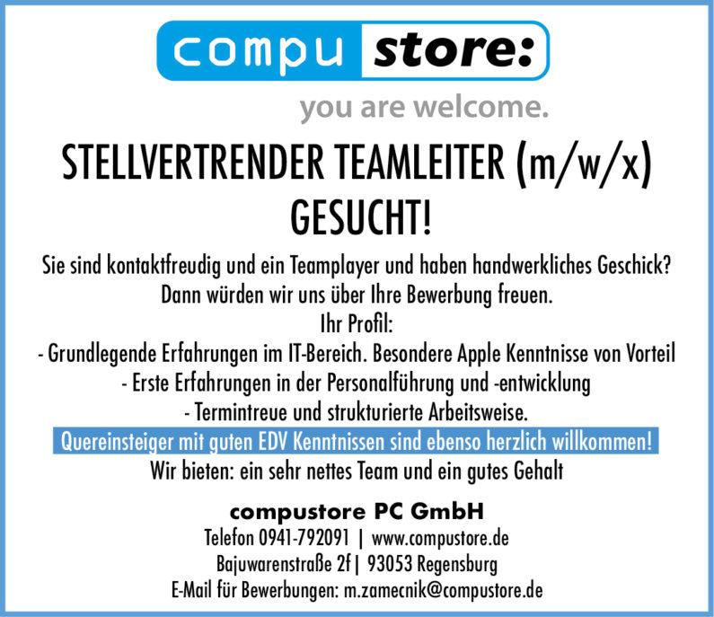 STELLVERTRENDER TEAMLEITER (m/w/x)  GESUCHT!
